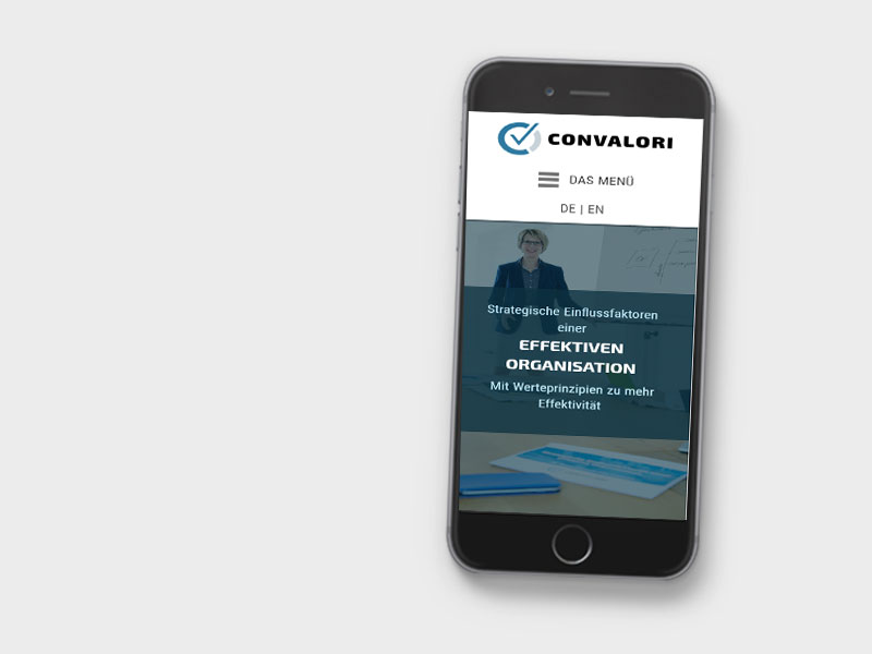 Aufnahmer einer mobile Version einer Webseite