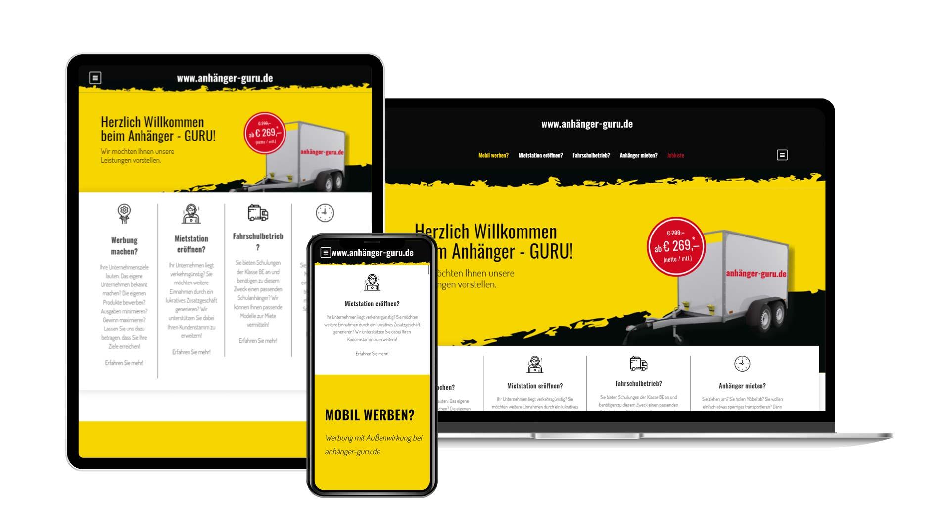 respsonsive Webseite - Übersicht Anhängerguru